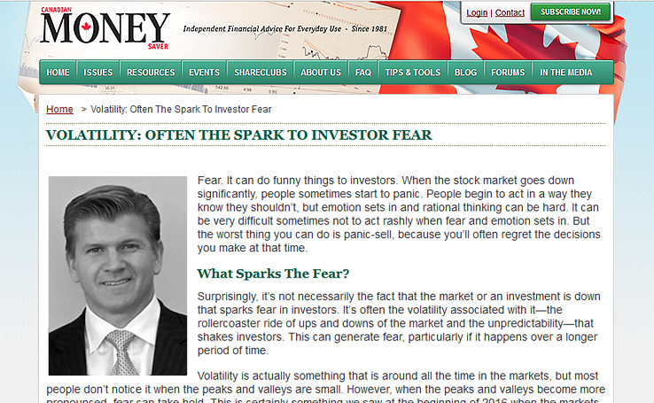 Volatility: Often The Spark To Investor Fear – Canadian Money Saver Magazine Article
