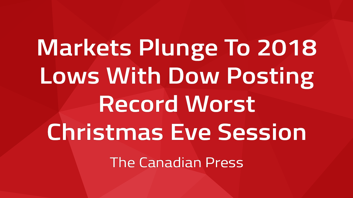 Canadian Press – Markets Plunge To 2018 Lows With Dow Posting Record Worst Christmas Eve Session